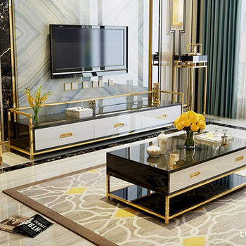 Luxury Tv Cabinet Living Room Furniture Black Unit Regarding Most Popular Modern Black Tv Stands On Wheels With Metal Cart (View 8 of 15)