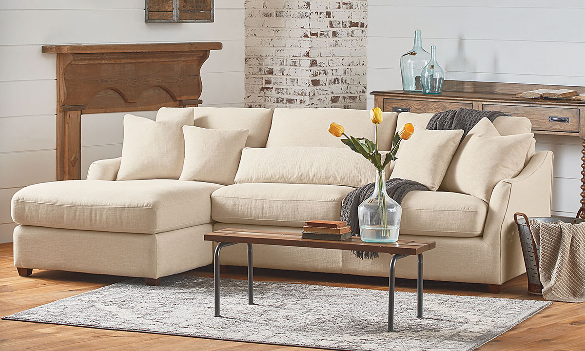 Magnolia Home Homestead Linen Sofa Chaise   The Dump With Regard To Magnolia Sectional Sofas With Pillows (View 14 of 15)