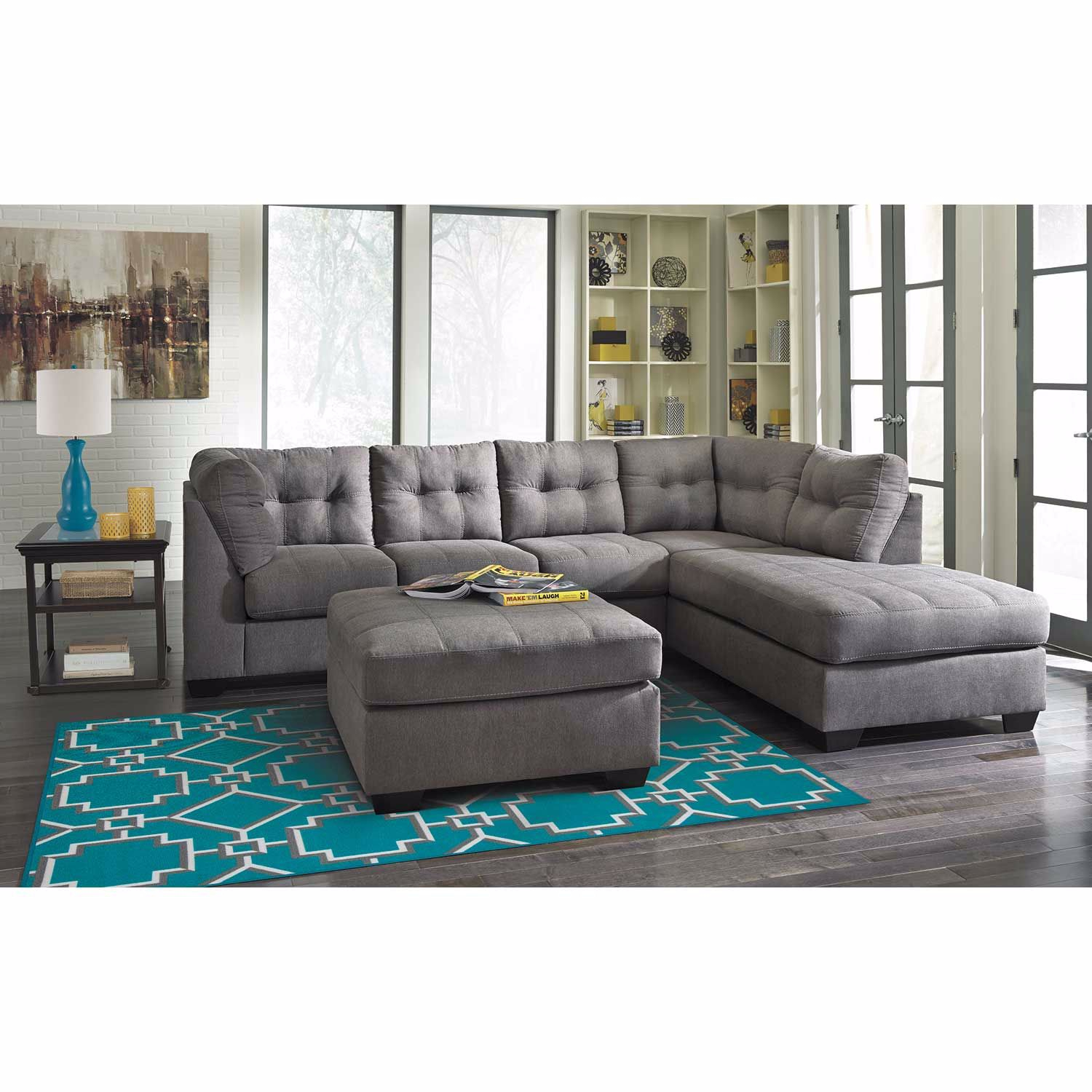 Maier Charcoal 2 Piece Sleeper Sectional With Laf Chaise With Regard To Aspen 2 Piece Sleeper Sectionals With Laf Chaise (View 7 of 15)