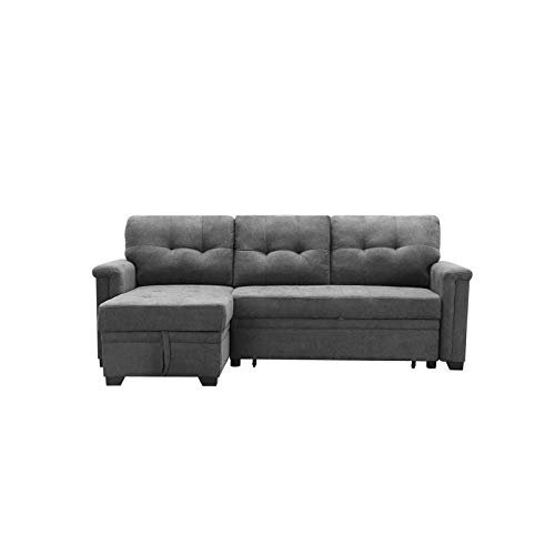 Maklaine Contemporary Gray Fabric Reversible/Sectional In Harmon Roll Arm Sectional Sofas (View 8 of 15)
