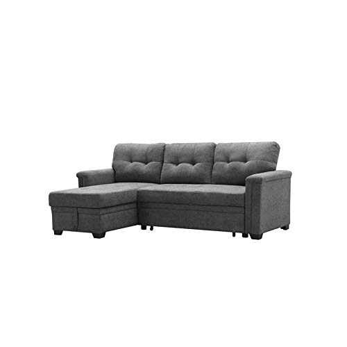 Maklaine Contemporary Gray Fabric Reversible/Sectional Inside Harmon Roll Arm Sectional Sofas (View 7 of 15)