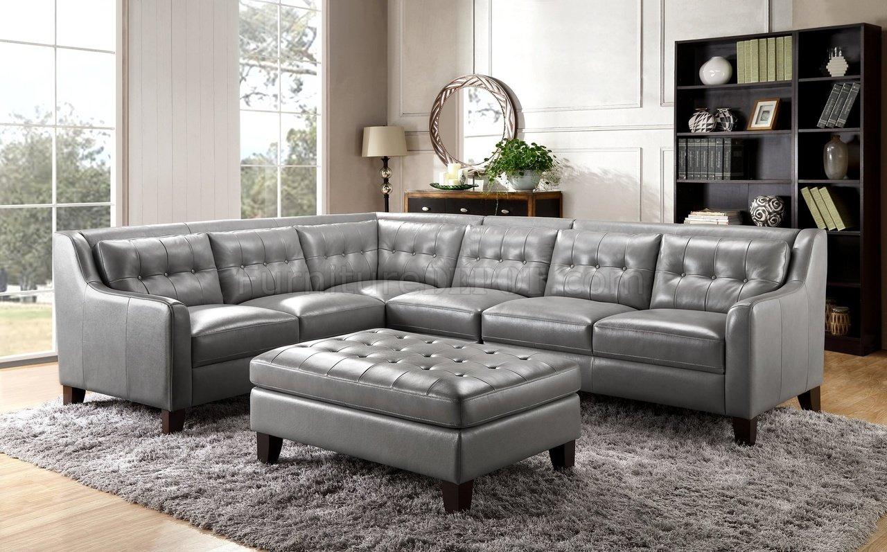 Malibu Sectional Sofa In Greyleather Italia W/Options Regarding Noa Sectional Sofas With Ottoman Gray (View 1 of 15)