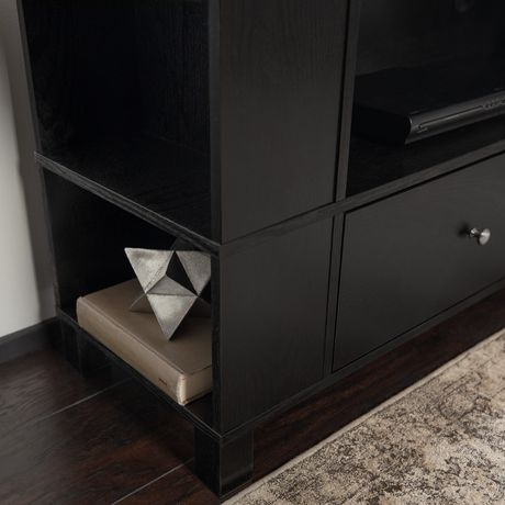 Manor Park Black Wood Tv Stand With Storage And Mount With Widely Used Dark Wood Tv Stands (View 12 of 15)