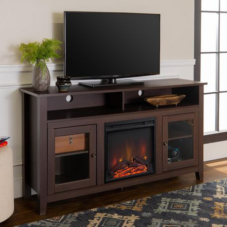 Manor Park Modern Highboy Fireplace Tv Stand For Tvs Up To In Most Recent Fireplace Media Console Tv Stands With Weathered Finish (View 8 of 15)