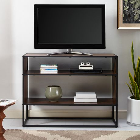 Manor Park Rustic Urban Industrial Tv Stand For Tv'S Up To Throughout Widely Used Tv Stands With Led Lights In Multiple Finishes (View 5 of 15)