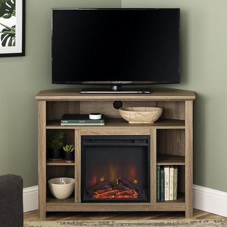 Manor Park Tall Corner Fireplace Tv Stand For Tv'S Up To Inside Well Liked Tv Stands With Led Lights In Multiple Finishes (View 4 of 15)