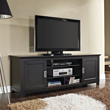 Manor Park Tv Stand With Sliding Doors For Tvs Up To 70 For Most Up To Date Modern Black Tv Stands On Wheels (View 15 of 15)