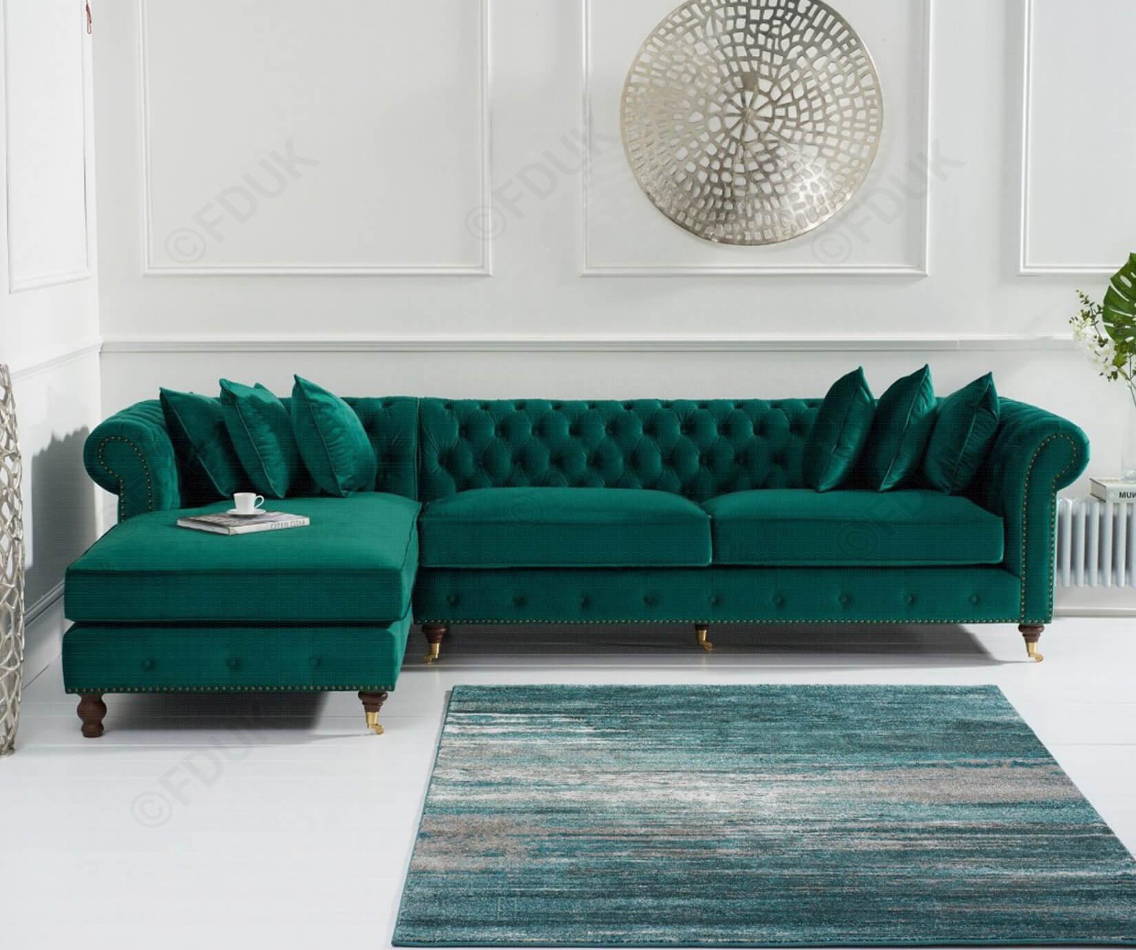 Mark Harris Fiona Chesterfield Green Velvet Left Facing Inside Green Sectional Sofas (View 5 of 15)