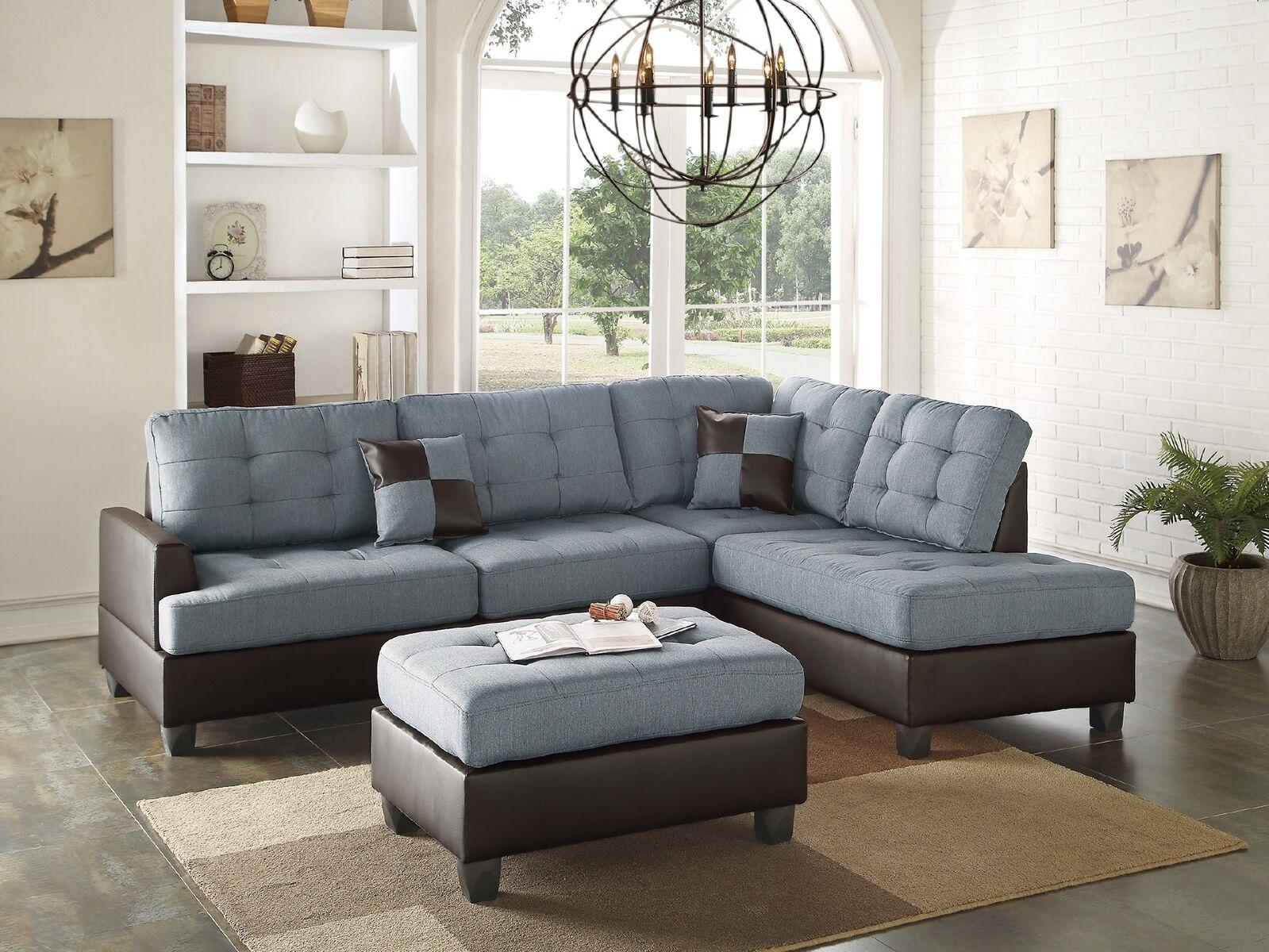Mathew Sectional Sofa Set Contemporary Grey Linen Like For Ludovic Contemporary Sofas Light Gray (View 1 of 15)