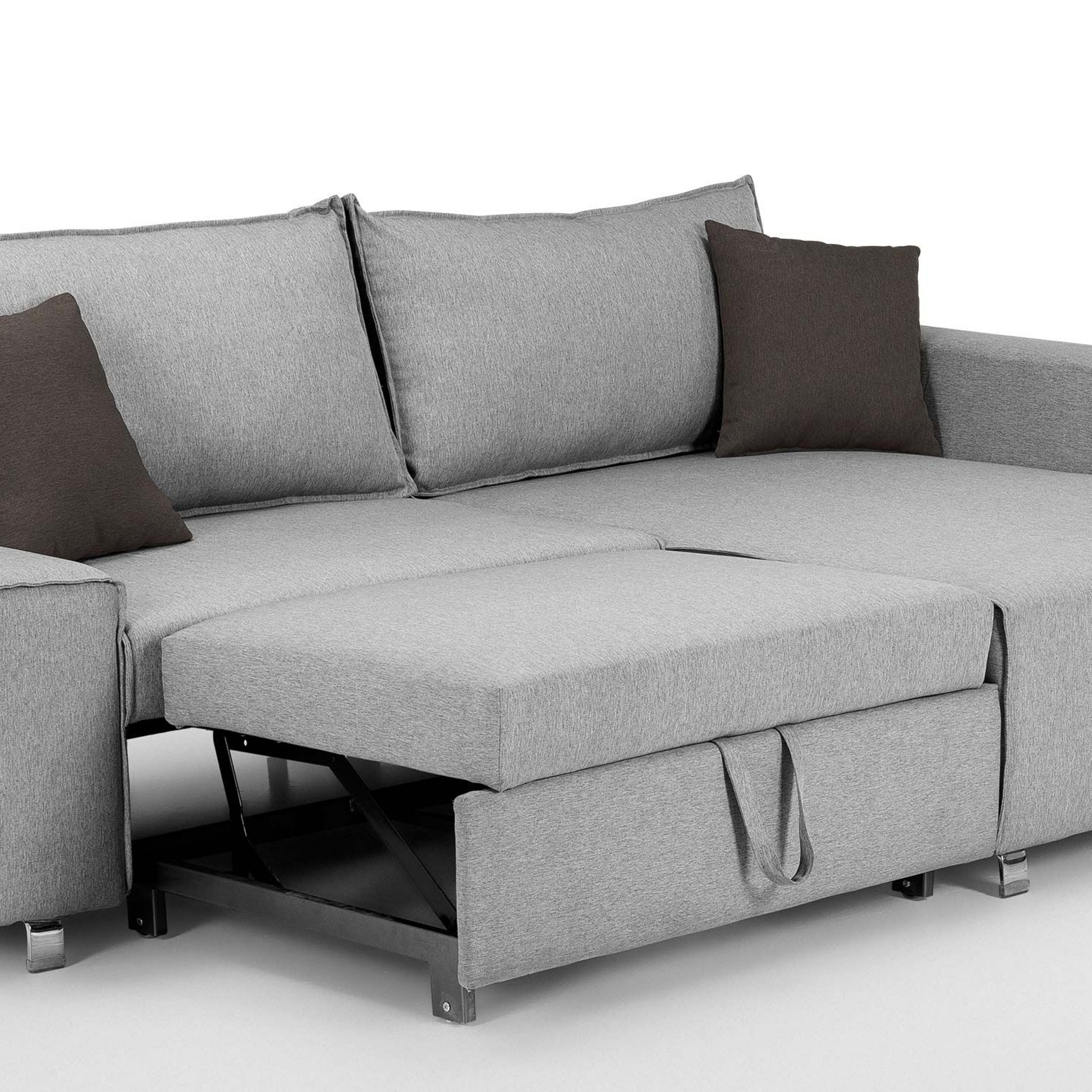 Mayne Right Hand Facing Corner Sofa Bed, Clear Grey Stone Regarding Dulce Right Sectional Sofas Twill Stone (View 12 of 15)