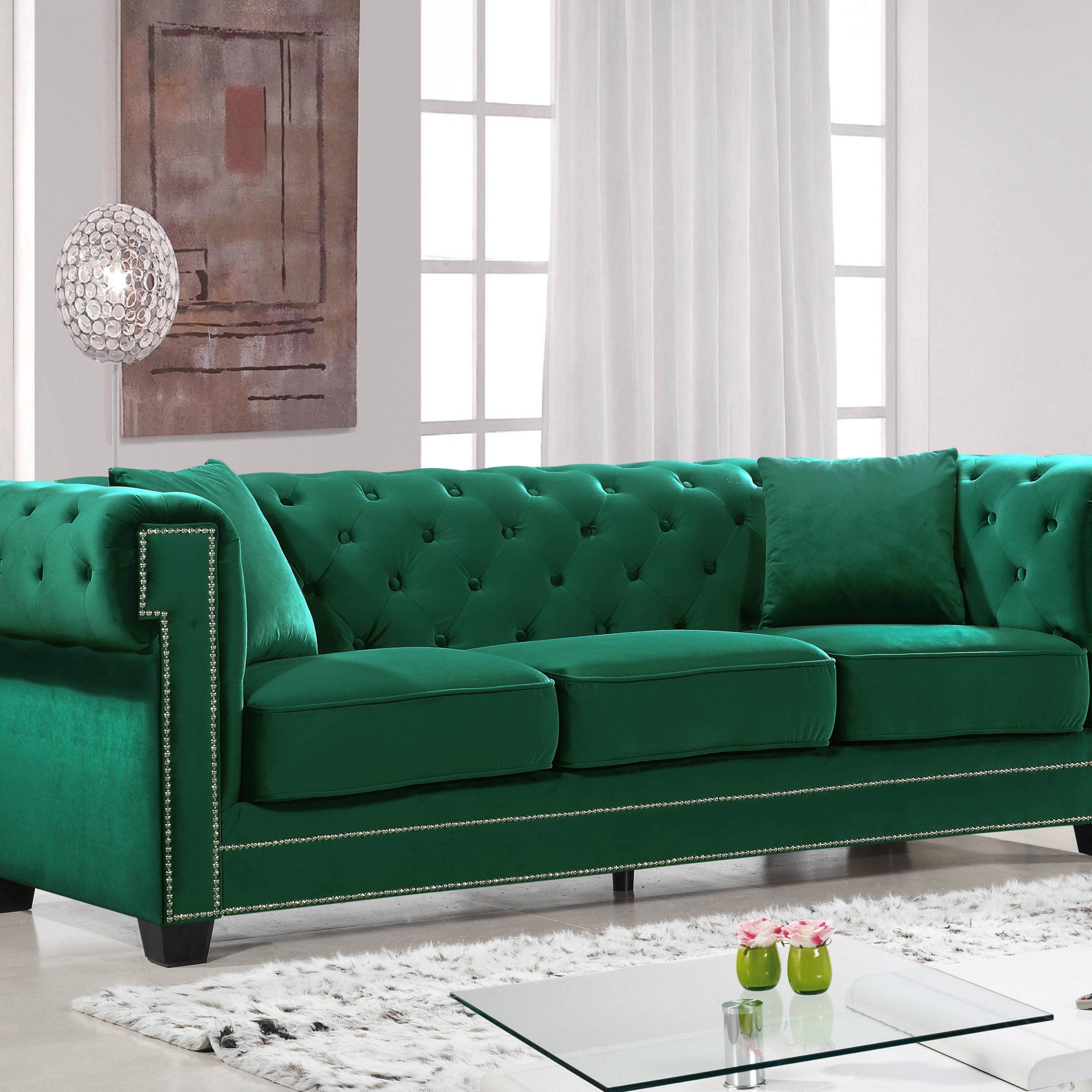 Meridian Furniture Bowery Green Sofa   The Classy Home Regarding Green Sectional Sofas (View 7 of 15)