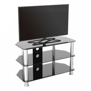 Meuble Tv Moderne En Verre Noir Unité Pour Jusqu'À 42 For Most Popular 57'' Led Tv Stands With Rgb Led Light And Glass Shelves (View 6 of 15)
