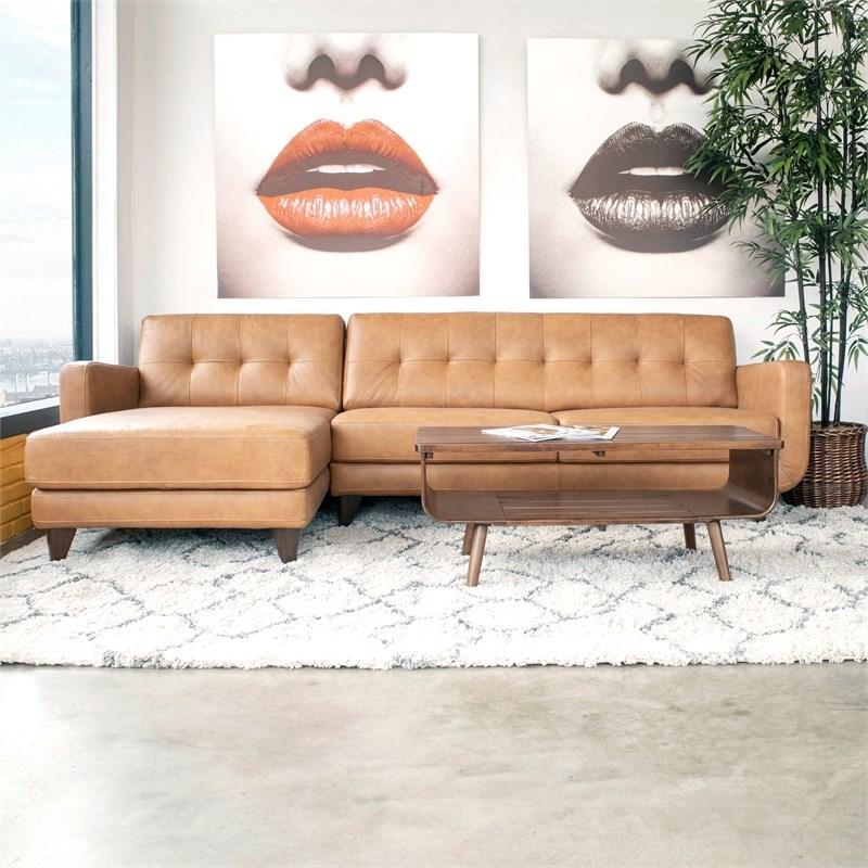 Mid Century Modern Davis Tan Genuine Leather Sectional In Florence Mid Century Modern Left Sectional Sofas (View 8 of 15)