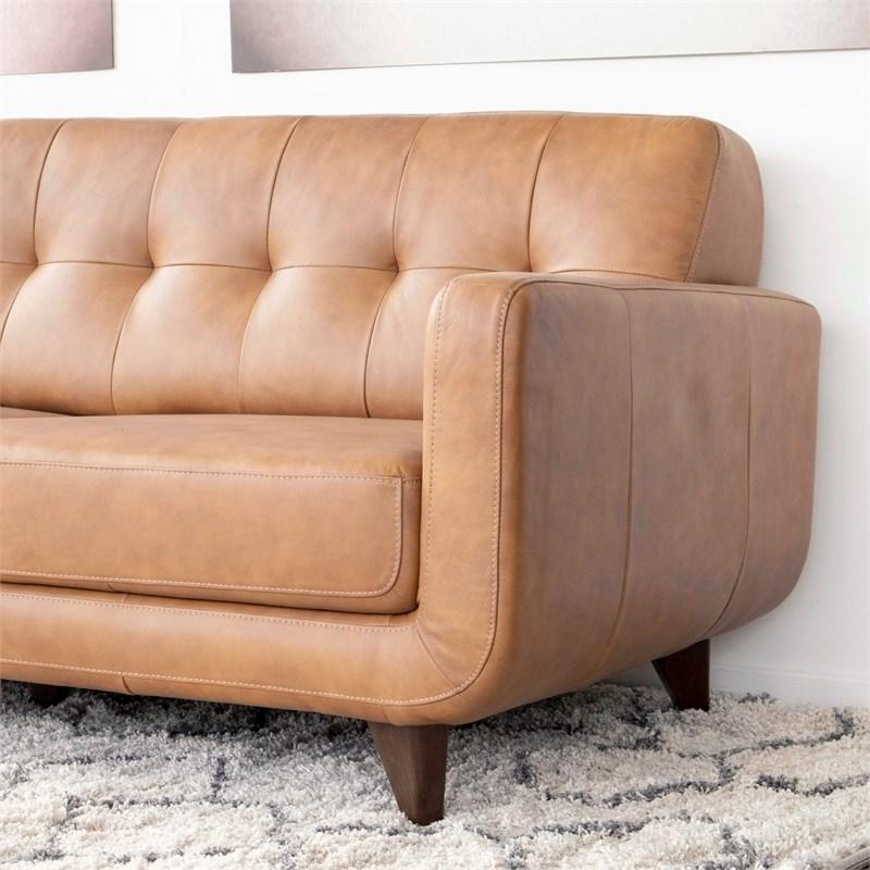Mid Century Modern Davis Tan Genuine Leather Sectional In Florence Mid Century Modern Left Sectional Sofas (View 13 of 15)