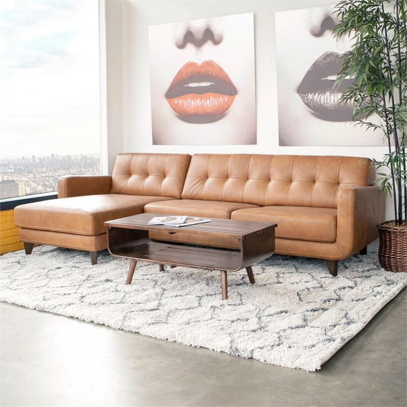 Mid Century Modern Davis Tan Genuine Leather Sectional Inside Florence Mid Century Modern Left Sectional Sofas (View 5 of 15)