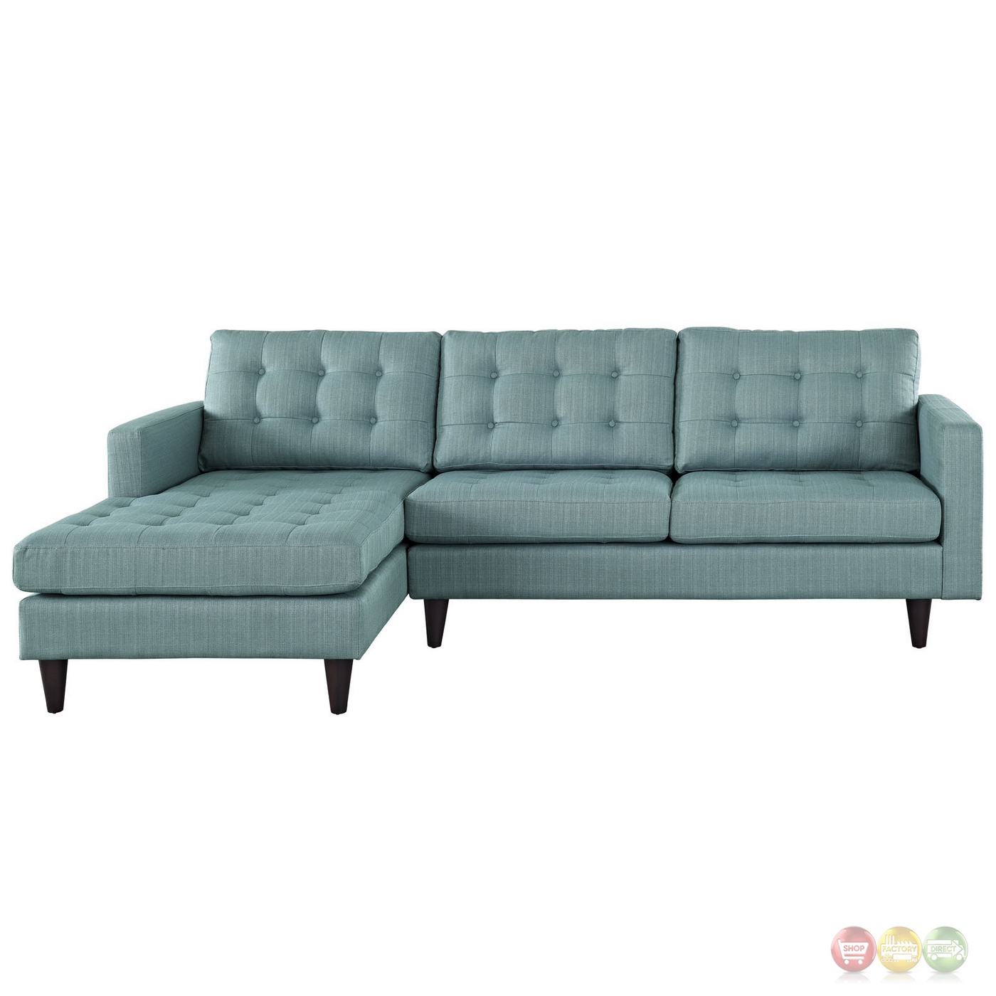 Mid Century Modern Empress Left Facing Button Tufted Within Florence Mid Century Modern Left Sectional Sofas (View 6 of 15)