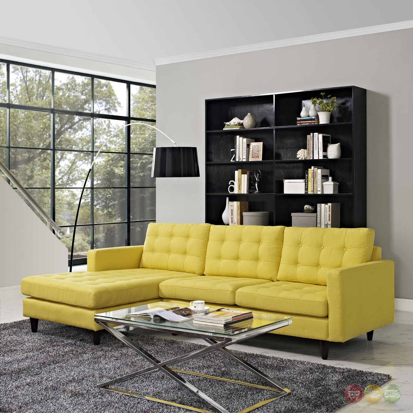 Mid Century Modern Empress Left Facing Button Tufted Within Florence Mid Century Modern Left Sectional Sofas (View 3 of 15)