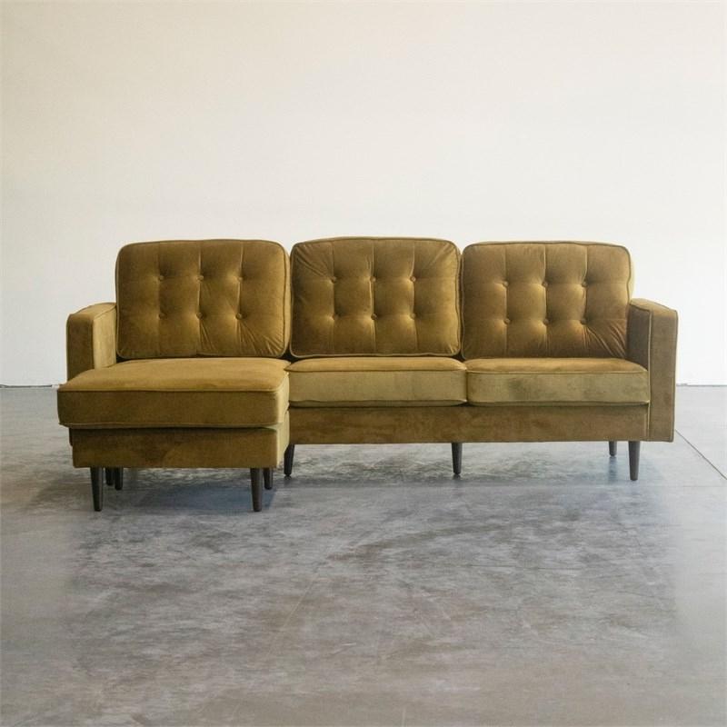 Mid Century Modern Kayle Dark Yellow Reversible Sectional With Verona Mid Century Reversible Sectional Sofas (View 10 of 15)