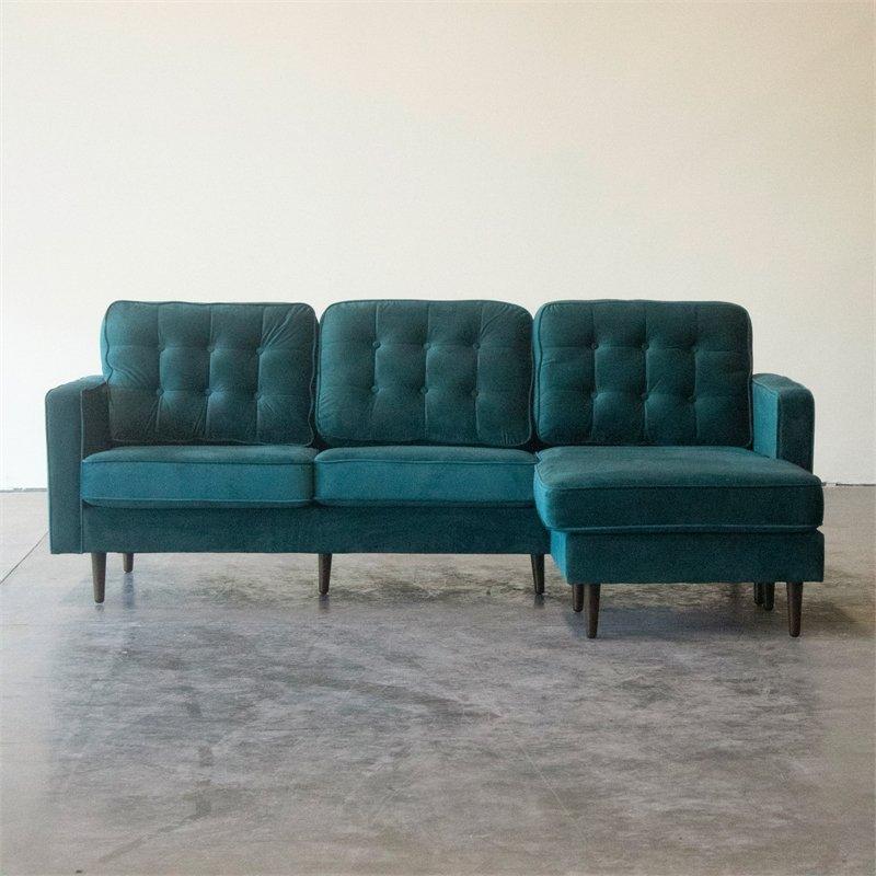 Mid Century Modern Kayle Teal Velvet Reversible Sectional In Verona Mid Century Reversible Sectional Sofas (View 9 of 15)