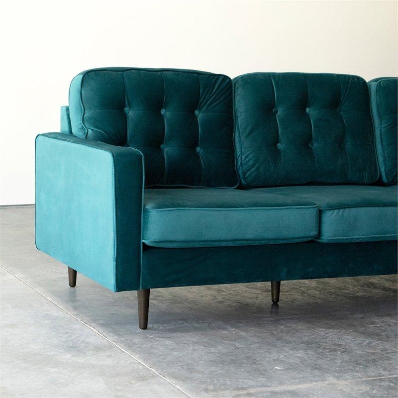Mid Century Modern Kayle Teal Velvet Reversible Sectional In Verona Mid Century Reversible Sectional Sofas (View 3 of 15)