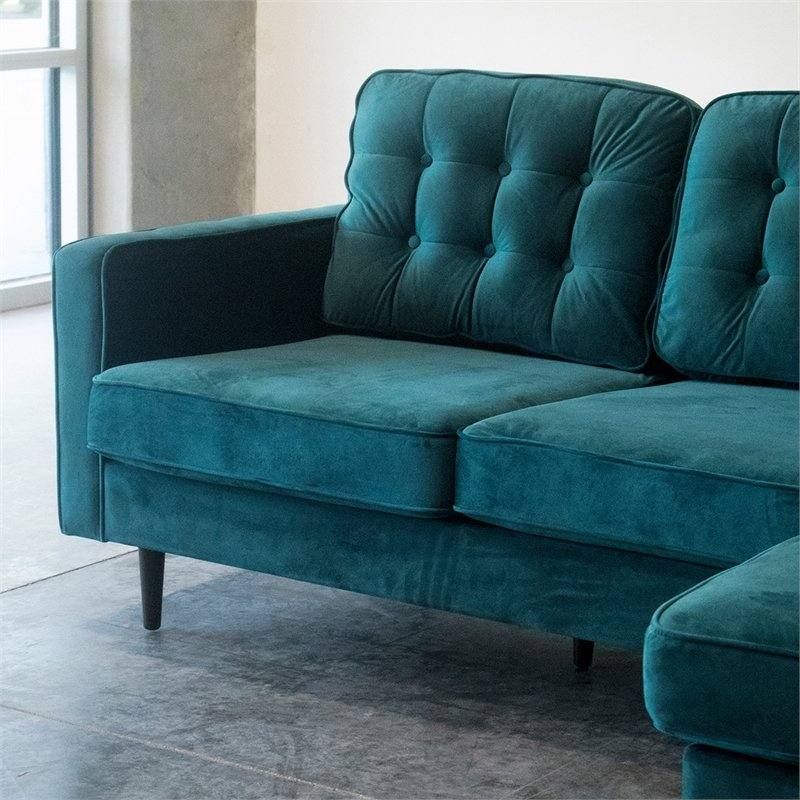 Mid Century Modern Kayle Teal Velvet Reversible Sectional Within Verona Mid Century Reversible Sectional Sofas (View 1 of 15)