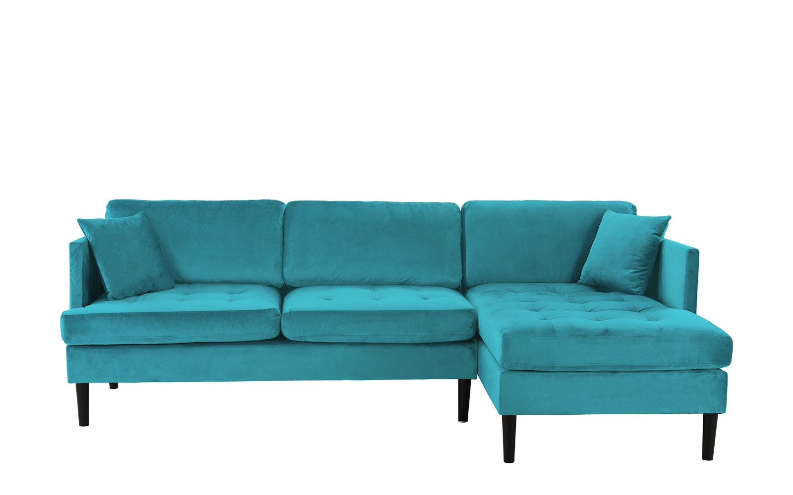 Mid Century Modern Tufted Velvet Sectional Sofa, Classic L Intended For Dulce Mid Century Chaise Sofas Dark Blue (View 1 of 15)