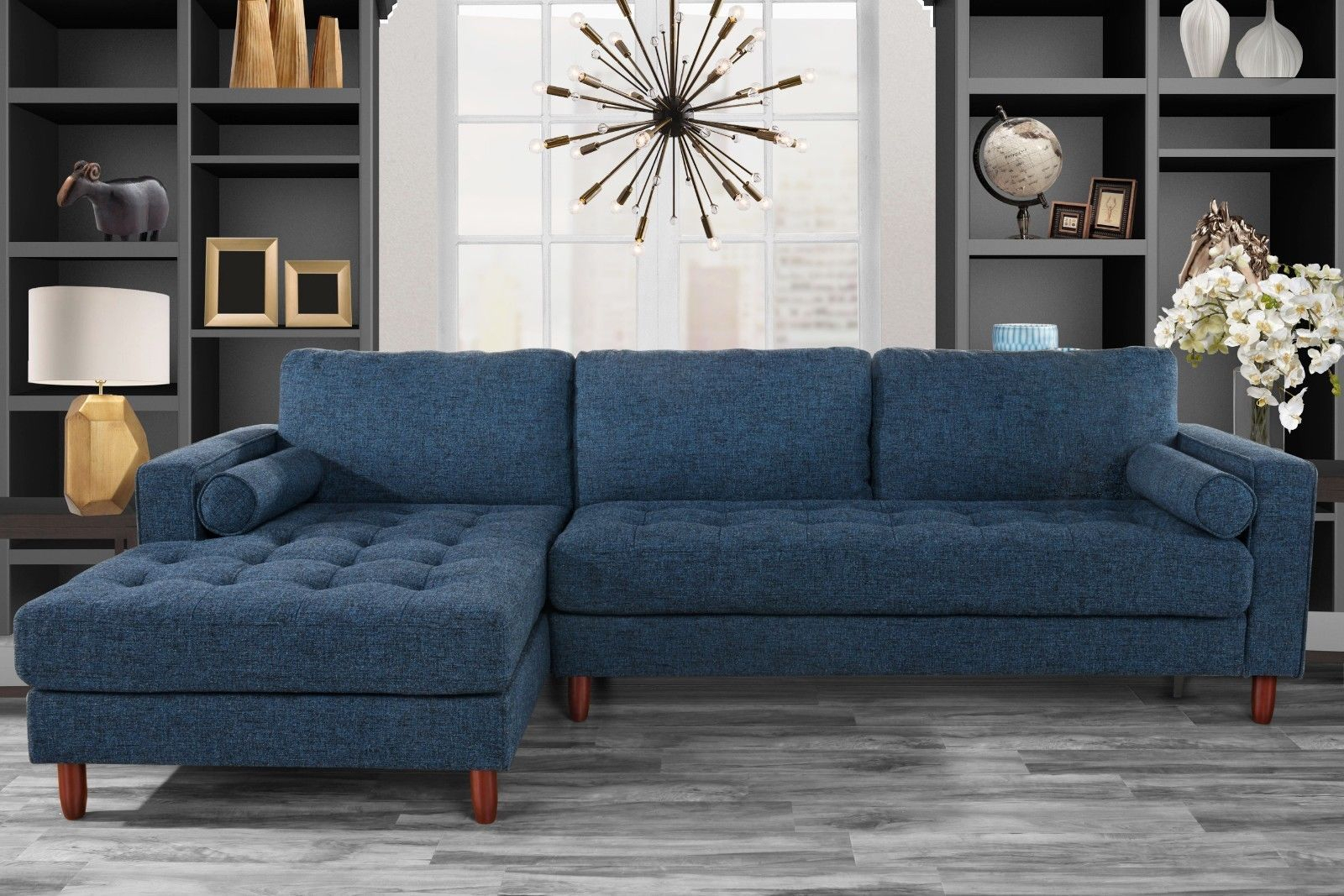 Mid Century Tufted Fabric Sectional Sofa, L Shape Couch With Dulce Mid Century Chaise Sofas Dark Blue (View 15 of 15)