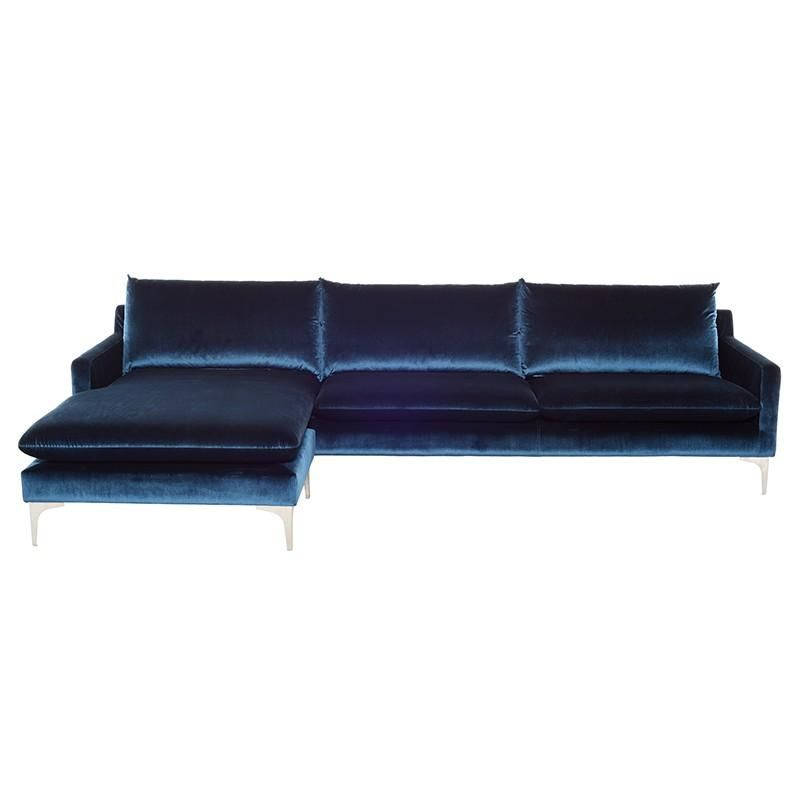Midnight Blue Velvet Sofas, Loveseats, And Sectionals For Dulce Mid Century Chaise Sofas Dark Blue (View 11 of 15)