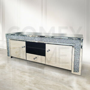 Mirrored Crushed Crystal Tv Unit / Stand – 150Cm – Free With Regard To Most Up To Date Fitzgerald Mirrored Tv Stands (View 10 of 15)