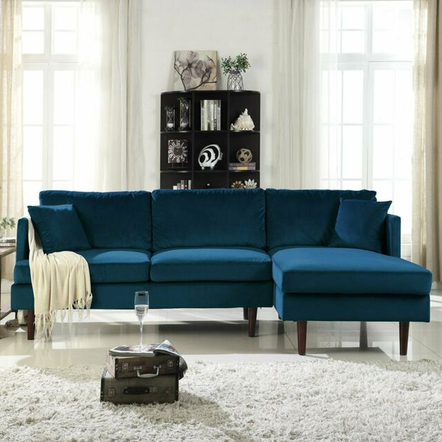 Modern Brush Microfiber Sectional Sofa, L Shape Couch W For Dulce Mid Century Chaise Sofas Dark Blue (View 7 of 15)