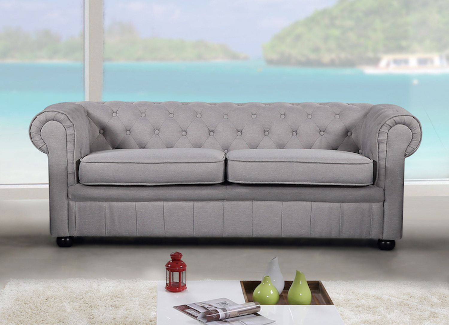Modern Chesterfield Style Sofa – Light Grey Fabric In Ludovic Contemporary Sofas Light Gray (View 11 of 15)