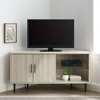 & Modern Corner Tv Stand 2 Door Cabinet Storage Beige For Pertaining To Popular Industrial Corner Tv Stands (View 7 of 15)