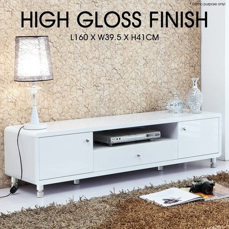 Modern High Gloss Tv Stand Cabinet – White (View 5 of 15)