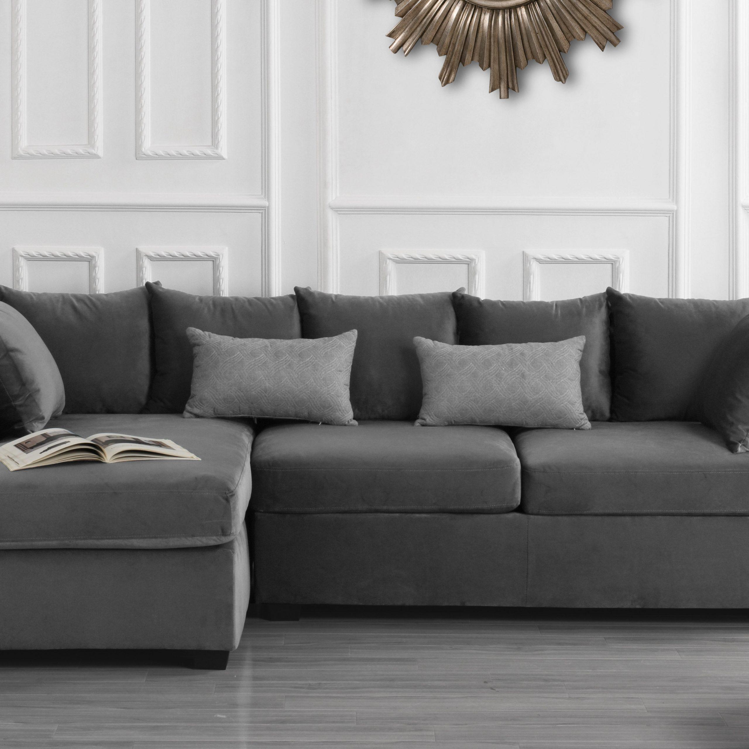 Modern Home Large Microfiber Velvet Sectional Sofa, Dark Within Sectional Sofas With Oversized Ottoman (View 2 of 15)