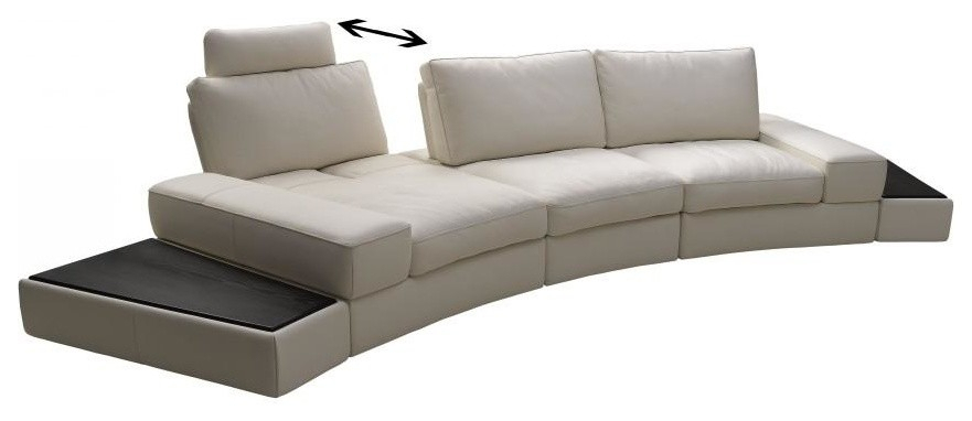 Modern Leather Sectional Sofa With Adjustable Backrest Inside Los Angeles Sectional Sofas (View 13 of 15)
