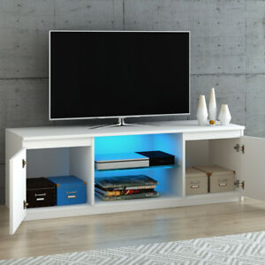 Modern Led Tv Unit Stand Cabinet Grey High Gloss 2 Doors Inside Most Up To Date Tv Cabinets With Glass Doors (View 15 of 15)