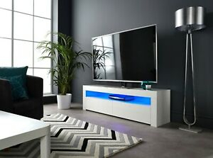 Modern Matt Gloss White 155Cm Tv Stand Cabinet Led Lights For Widely Used Modern White Gloss Tv Stands (View 13 of 15)