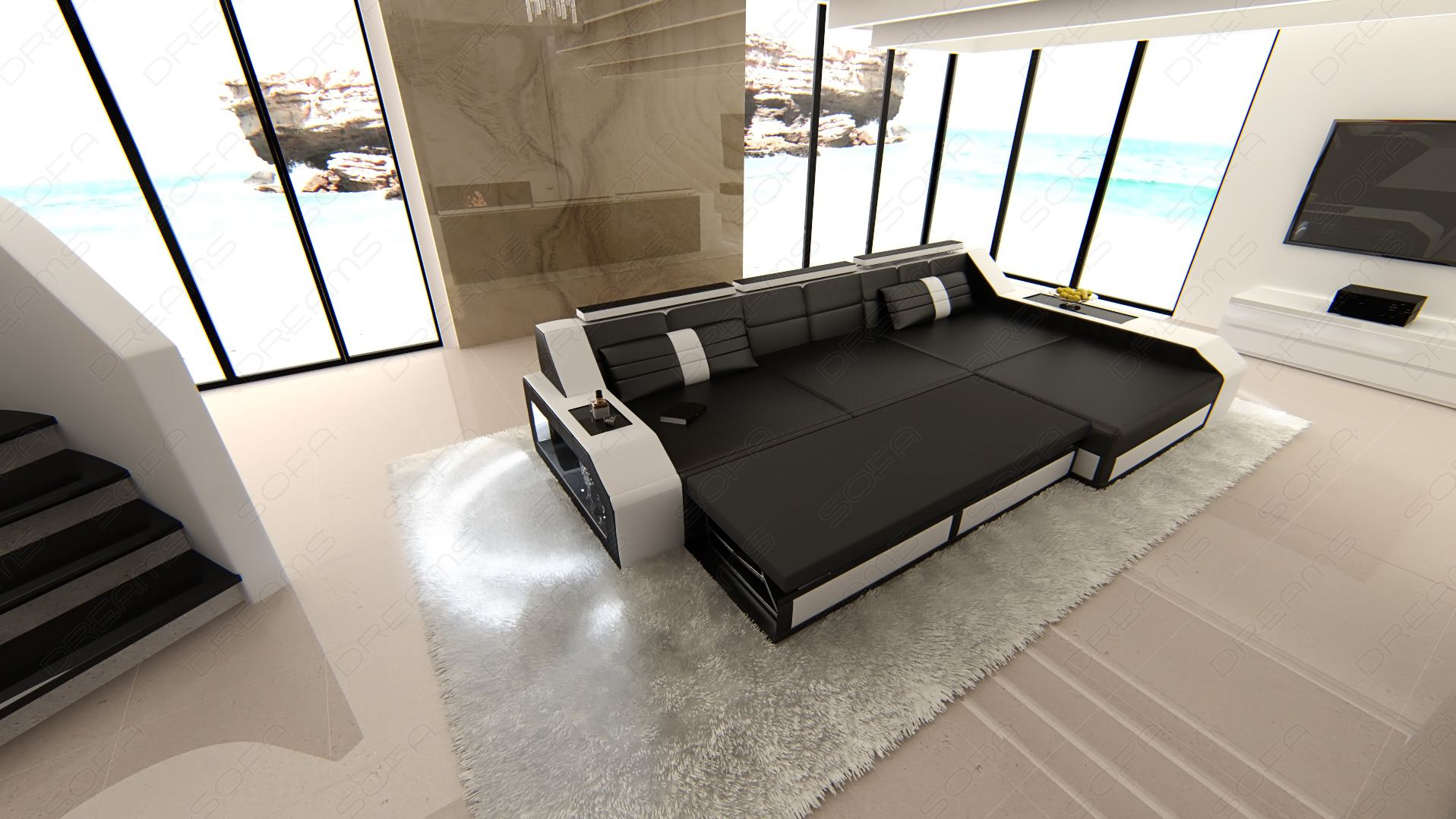 Modern Sectional Corner Leather Sofa Houston L Shape With With Regard To Houston Sectional Sofas (View 6 of 15)