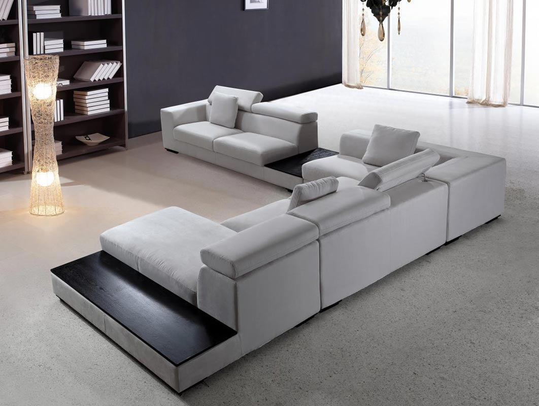 Modern Sectional Sofa Grey Microfiber Vg Fort 16 | Fabric Within 4Pc Crowningshield Contemporary Chaise Sectional Sofas (View 14 of 15)