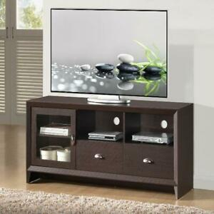 """Modern Tv Stand For Tvs Up To 60"""" Storage Glass Door, 2 For Latest Single Shelf Tv Stands (View 3 of 15)"""