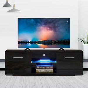 """Modern Tv Stand Unit Cabinet W/ Led Shelves 2 Drawers For Fashionable 47"""" Tv Stands High Gloss Tv Cabinet With 2 Drawers (View 7 of 15)"""