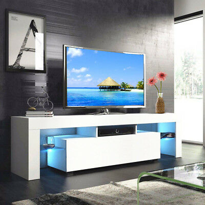 """Modern White 63'' Tv Stand Unit Cabinet W/ Led Light 2 Throughout Well Known 47"""" Tv Stands High Gloss Tv Cabinet With 2 Drawers (View 4 of 15)"""