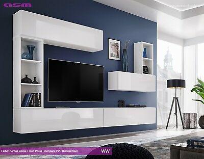 Modular Wall Living Room Unit Blox I Ww High Gloss Pvc Pertaining To Well Known Hannu Tv Media Unit White Stands (View 9 of 15)