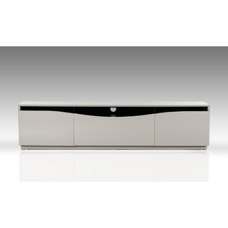 Most Current Casablanca Tv Stands With Regard To 'Adrianna' Grey High Gloss Stainless Steel Tv Stand (View 15 of 15)