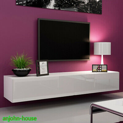 Most Current Hannu Tv Media Unit White Stands With Regard To White Living Room Tv Unit High Gloss Door Wall Mounted (View 3 of 15)