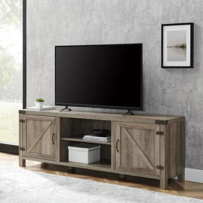 """Most Current Jaxpety 58"""" Farmhouse Sliding Barn Door Tv Stands In Rustic Gray Intended For Walker Edison Furniture Company Barn Door 58 In (View 2 of 15)"""