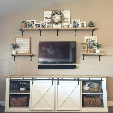 """Most Current Modern Farmhouse Style 58"""" Tv Stands With Sliding Barn Door In 34 Ideas Farmhouse Living Room Tv Stand Ana White (View 15 of 15)"""