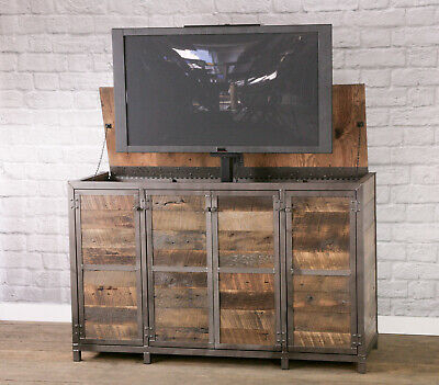 Most Current Rustic Country Tv Stands In Weathered Pine Finish Within Reclaimed Wood Tv Lift Cabinet (View 2 of 15)