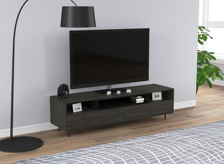 """Most Current Tv Stands And Bookshelf With Tv Stand – 55""""L Grey Wood / Two Drawers & Three Shelves (View 9 of 15)"""