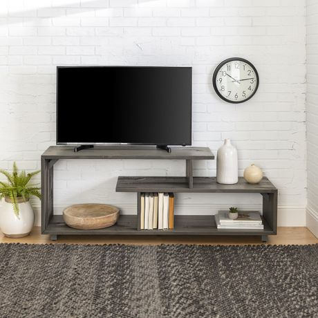 Most Current Tv Stands With Led Lights In Multiple Finishes Throughout Manor Park Rustic Modern Open Shelf Tv Stand For Tv'S Up (View 11 of 15)